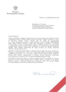 List Prezydenta RP Bronisława Komorowskiego
