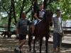 Osadzeni z Zakładu Karnego w Wojkowicach pomagają w zajęciach z hipoterapii, prowadzą konie, asekurują pomagając terapeutom. Są również świetnymi masztalerzami, mają dobre podejście do koni. Współpraca przynosi dobre rezultaty dla obu stron zapewnia Joanna Korczyńska, rzecznik prasowy zakładu. Fot. Klub Gaja. — w miejscu: Zespół Szkół Specjalnych nr 4 w Sosnowcu