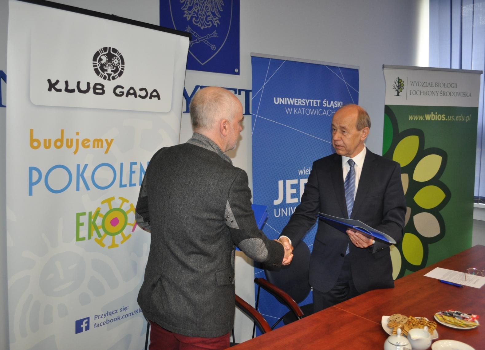 Porozumienie o współpracy pomiędzy Klubem Gaja i Uniwersytetem Śląskim. Fot. Klub Gaja.