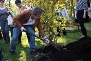 Ambasador Klubu Gaja Bartłomiej Topa sadzi drzewo na Polu Mokotowskim. Inauguracja Święto Drzewa 2014r.